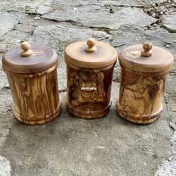 Boîtes à épices en bois d'olivier